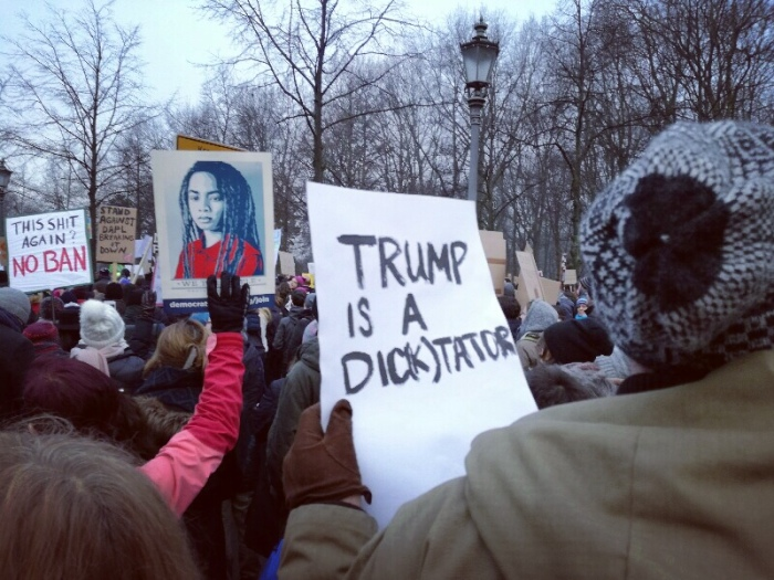 Trump is a Dic(k)tator - Posters at the No Ban - No Wall Protest March in Berlin (Photo by Stefan Klenke)