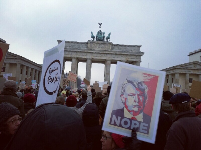 Nope to Trump - Posters at the No Ban - No Wall Protest March in Berlin (Photo by Stefan Klenke)